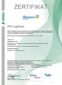 2015-2016. Rezert. Zertifikat IFS Log. Biermann Kühllogistik