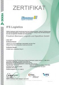 2015-2016. Rezert. Zertifikat IFS Log. Biermann Logistik und Spedition